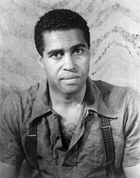 Jones's father, Robert Earl Jones, in promotional still for the Langston Hughes play Don't You Want to Be Free? (1938)
