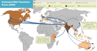 Map showing world Sikh population areas and historical migration patterns (2004 estimate)