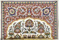 Opaque watercolour-on-paper Nakashi art; about 1880, by an unknown artist from Lahore or Amritsar, and used to decorate the walls of Harmandir Sahib