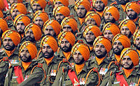 Soldiers of the Indian Army's Sikh Light Infantry regiment