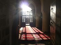 The interior of the Great Mosque of Sana'a, the oldest mosque in Yemen