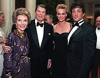 Stallone with Brigitte Nielsen, Ronald Reagan and Nancy Reagan at the White House, 1985