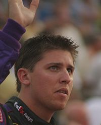 Despite being 9th before the reset, Denny Hamlin (pictured in 2007) assumed the points lead by virtue of earning the most wins throughout the regular season.