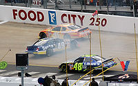 Brent Sherman (middle) spins around during the 2006 Food City 500
