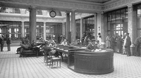 The inside of a Credit Suisse building in the 1930s