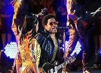 Kravitz performing with Katy Perry at the Super Bowl XLIX halftime show