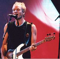 Sting on stage in Budapest in January 2000
