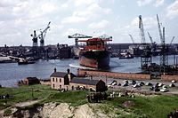 Wallsend shipyard, circa 1964, near where Sting grew up. His childhood experiences and the local shipbuilding industry was the inspiration for his 2014 musical The Last Ship, which is also set in Wallsend.