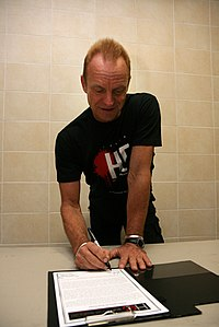 Sting signing a petition in Minsk in 2010 against the death penalty in Belarus, the only European country that still practises it.