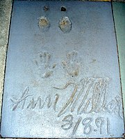 The handprints of Ann Miller in front of the Great Movie Ride at Walt Disney World's Disney's Hollywood Studios theme park