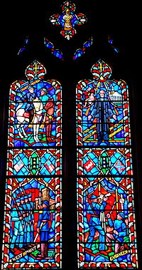 Stained glass of Lee's life in the National Cathedral, depicting his time at West Point, service in the Corps of Engineers, the Battle of Chancellorsville, and his death