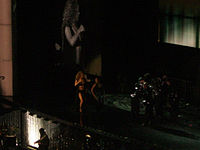 """Mariah Carey performing """"Dreamlover"""" on The Adventures of Mimi Tour in 2006"""