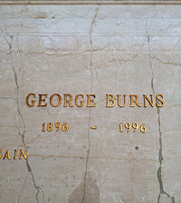 Crypt of George Burns, in the Freedom Mausoleum, Forest Lawn Glendale