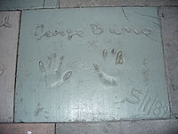 The handprints of George Burns in front of The Great Movie Ride at Walt Disney World's Disney's Hollywood Studios theme park.