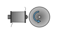 The tonewheel rotates beside an electromagnetic pickup.