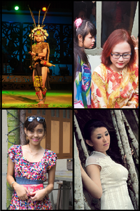 Major ethnic groups in Sarawak. Clockwise from top right: Melanau girls with the traditional Baju Kurung, Sarawakian Chinese woman in her traditional dress of Cheongsam, a Bidayuh girl, and an Iban warrior in his traditional dress.