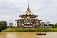 The State Assembly building is located near the Kuching waterfront.