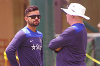 Kohli with coach Duncan Fletcher in January 2015, before the fourth Test in Sydney