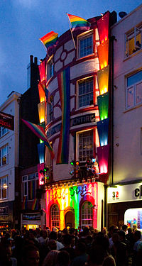 """A gay bar in Brighton, the UK's unofficial """"gay capital"""", during Brighton Pride"""