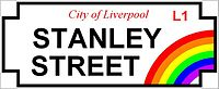 Official street signage for Stanley Street in Liverpool's Gay Quarter
