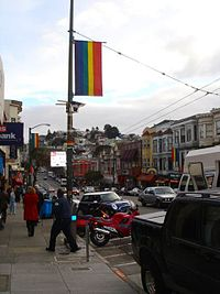 Rainbow flag banners are displayed all year in The Castro area of San Francisco, and along Market Street in June, as the symbol of LGBT pride and LGBT unity.