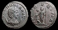 An Antoninianus coin depicting Zenobia, showing her diadem and draped bust on a crescent with the reverse showing a standing figure of Iuno Regina