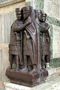 The Tetrarchs, a porphyry sculpture sacked from a Byzantine palace in 1204, Treasury of St Mark's, Venice