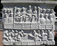 Detail of one of the carved reliefs on the Obelisk of Theodosius in Istanbul (Constantinople), showing Roman emperor Theodosius I surrounded by members of his court and receiving tributary gifts from foreign emissaries, late 4th century AD