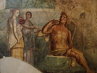 """Polyphemus hears of the arrival of Galatea, ancient Roman fresco painted in the """"Fourth Style"""" of Pompeii (AD 45–79)"""