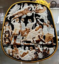 The Great Cameo of France, a cameo five layers sardonyx, Rome, c. AD 23, depicting the emperor Tiberius seated with his mother Livia and in front of his designated heir Germanicus, with the latter's wife Agrippina the Elder; above them float the deceased members of their house: Augustus, Drusus Julius Caesar, and Nero Claudius Drusus