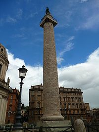 Trajan's Column, marble with stone-carved reliefs that show various scenes depicting events of Trajan's Dacian Wars