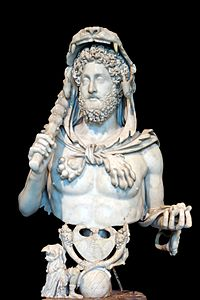 A bust of Commodus, depicting him as the legendary Heracles (i.e. Hercules) wearing the skins of the Nemean lion