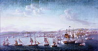 A US Navy expedition under Commodore Edward Preble engaging gunboats and fortifications in Tripoli, 1804