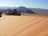 Libya is a predominantly desert country. Up to 90% of the land area is covered in desert.