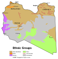 A map indicating the ethnic composition of Libya in 1974