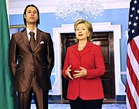 Libyan National Security Adviser Mutassim Gaddafi, a son of Colonel Gaddafi, with U.S. Secretary of State Hillary Clinton in 2009. He and his father were later killed.