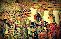 Hanuman and Ravana in Togalu Gombeyaata, a shadow puppet tradition in the southern part of India