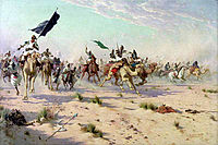 The flight of the Khalifa after his defeat at the Battle of Omdurman.