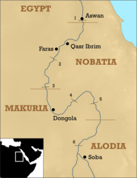 The three Christian Nubian kingdoms. The northern border of Alodia is unclear, but it also might have been located further north, between the fourth and fifth Nile cataract.