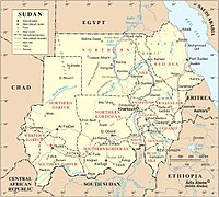 A map of Sudan. The Hala'ib Triangle has been under contested Egyptian administration since 2000.