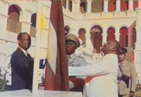 Sudan's flag raised at independence ceremony on 1 January 1956 by the Prime Minister Ismail al-Azhari and in presence of opposition leader Mohamed Ahmed Almahjoub