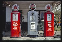 Texaco gas pumps in Milford, Illinois, photographed in 1977