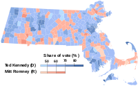 Results of Kennedy's re-election to the U.S. Senate from Massachusetts in 1994 against Republican challenger Mitt Romney