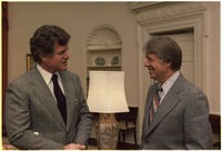President Jimmy Carter (right) with Senator Ted Kennedy in the Oval Office of the White House, December 1977