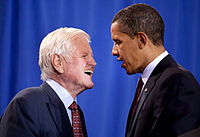 Kennedy with President Obama, the day the Edward M. Kennedy Serve America Act was signed, April 21, 2009, four months before Kennedy's death