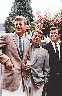 John, Bobby, and Ted Kennedy during John's presidential campaign, July 1960, in Hyannis Port, Massachusetts
