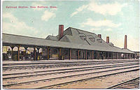 Old Colony Railroad Station in New Bedford, as it looked c. 1907–1915. As early as 1840, New Bedford was integrated into the northeastern economy by rail.