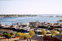 View of boats docked at New Bedford