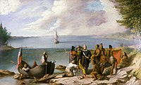 William Allen Wall's depiction of Wampanoag people meeting Bartholomew Gosnold and his crew upon their arrival in New Bedford in 1602
