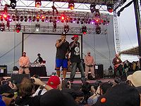 Public Enemy at Vegoose in 2007. From left: DJ Lord, Chuck D, and Flavor Flav.